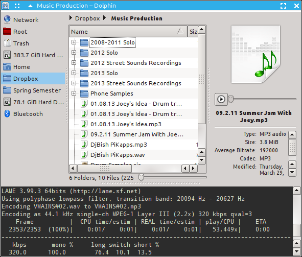 Bash script for converting .wav audio files to .mp3